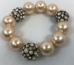 J.Crew Stretch Faux Champagne Pearl and Crystal Orb Bracelet - $14.24