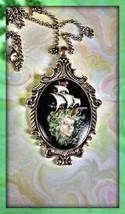 Artist painted cameo pendant Goddess of the Sea mermaid siren guiding lo... - $19.80