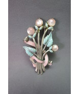 VTG Signed Coro Flower Brooch Glass Pink Moon G... - $32.66