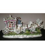Capodimonte Italiano Porcellana Carrozza Princess 4 Cavallo Firmata Pacelli - $354.49