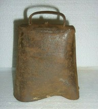 ANTIQUE COW BELL HAND HAMMERED STEEL RIVETED  PRIMITIVE MISSING CLAPPER ... - $8.79