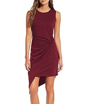 VamJump Women Sleeveless Ruched Knot Asymmetrical Mini Cocktail Dress Red M - $23.52