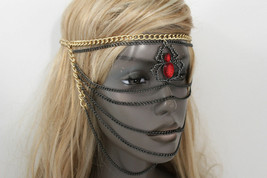 Women Head Metal Chain Fashion Jewelry Gold Black Web Red Spider Mask Co... - $29.39
