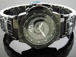 Men's Crown Master 48MM Round 12 Diamonds Black tone watch - $94.49