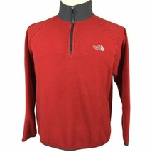 The North Face 1/4 Zip Fleece Pullover Jacket Youth XL Adult Small Red Gray - $29.60