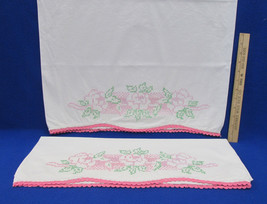 Pair Vintage Pillowcases Cross Stitch Floral Flower Pink Rose Crocheted ... - $14.84