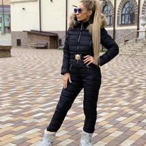 European Women's Fashion One Piece Black Fur Lined Hooded Ski Suit Snowsuit