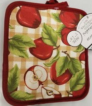 "Set of 2 Printed JUMBO Pot Holders, 7"" x 8"", WHOLE & CUT APPLES w/ red b... - $8.90"