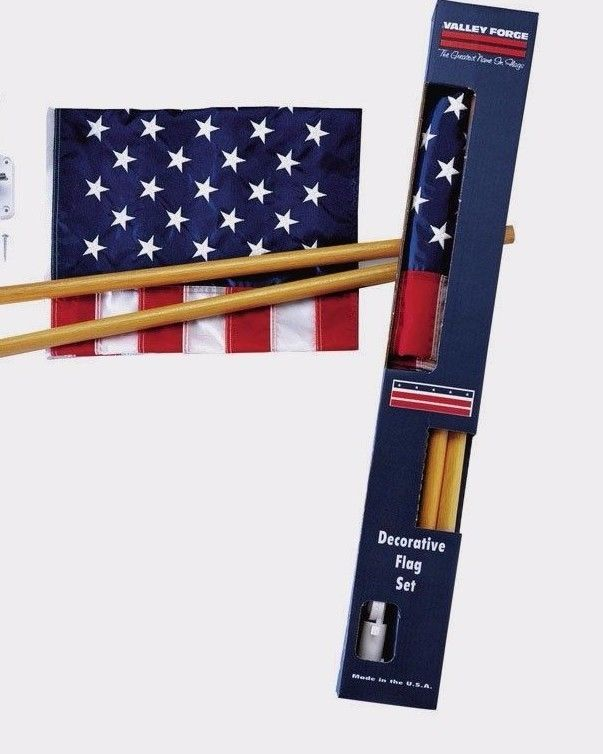 NEW Valley Forge 2.5' x 4' SEWN United States USA AMERICAN FLAG SET Pole Mount