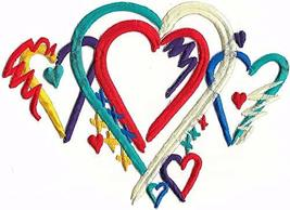 """8.5"""" Aqua Red Heart Fully Embroidery Patch - $22.77"""