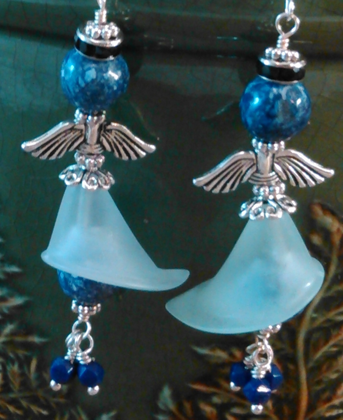 Angel Dangle Wire Wrap Earrings Blue Gemstone Beads Sterling Wires Handmade