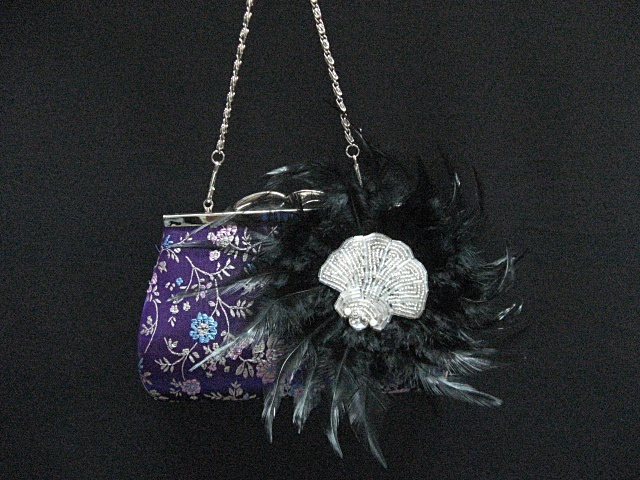 Primary image for elegance embroidery feather crystal bridal clutch wedding party purse handbag 01