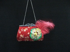 elegance embroidery feather crystal bridal clutch wedding party purse ha... - $24.00