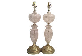 Vintage Pressed Glass Genie Bottle Lamps-A Pair - $2,475.00