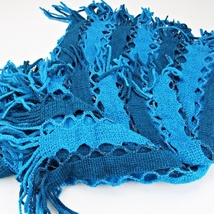 Blue Two Tone Silver Sparkle Tassel Infinity Scarf image 2