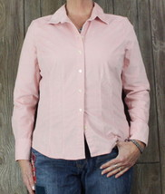 Eddie Bauer L size Blouse Pink Fine Corduroy Fitted Top Womens Casual Shirt  - $25.74