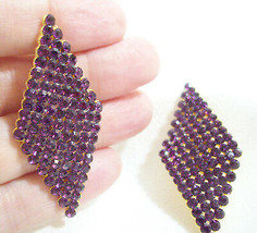 Sleek Purple Diamond Shape Rhinestones Sparkling Clip Earring Estate Mad... - $13.37