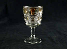 US Glass Bulls Eye and Daisy Wine Glass Gold Circles, Antique EAPG 1909,... - $14.69