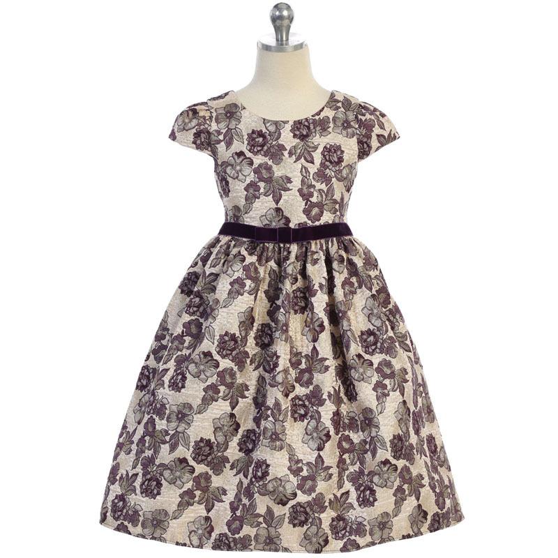 Purple Cap Sleeve Floral Metallic Brocade Velvet Trim Waist Girl Dress