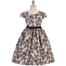 Purple Cap Sleeve Floral Metallic Brocade Velvet Trim Waist Girl Dress - £32.30 GBP