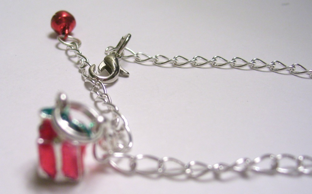 Red Christmas Gift Box Charm Silver Bracelet