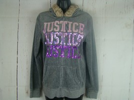 "Justice Hoodie Jacket Girls Size 18 Gray ""Justice"" Velour Themed Faux Fu... - $14.94"