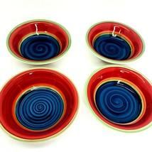 4 Royal Norfolk Stoneware Swirl Design Mambo Cereal Soup Bowl Multi Colors Blue - $28.49