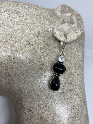 Primary image for Vintage Black Onyx 925 Sterling Silver Chandelier Lever back Earrings