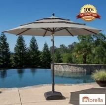 New Garden Sun Umbrella Parasol in MUSHROOM Patio Shade Aluminium Wood E... - £195.80 GBP