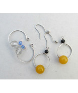 Interchangeable earrings, two pairs silver hoop earrings, crystal bead e... - £20.34 GBP