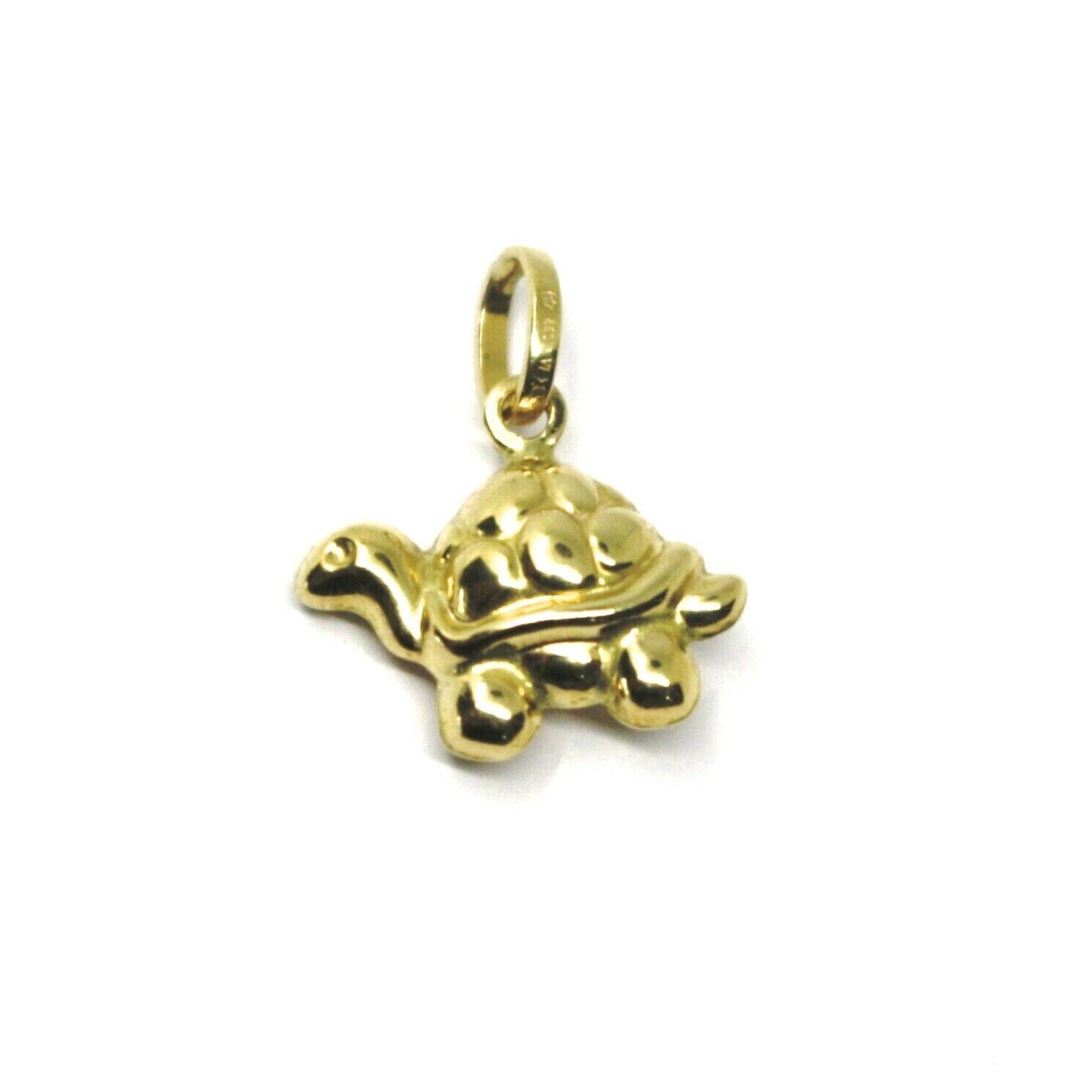 18K YELLOW GOLD MINI ROUNDED TURTLE PENDANT 14mm DIAM. TWO FACES SMOOTH & WORKED