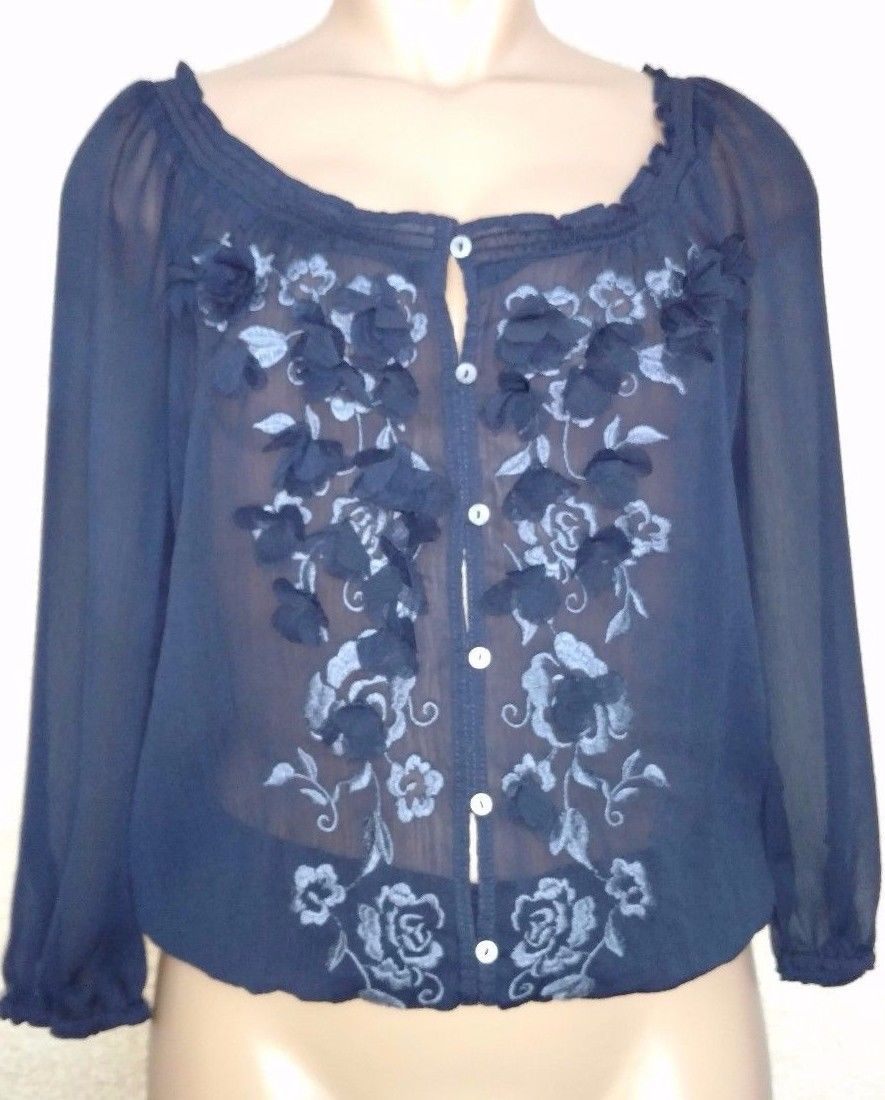 Abercrombie & Fitch Sheer Navy Floral Embroidered Button Up Blouse L  - $39.50
