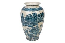 "Blue and White Crackle Porcelain Blue Willow Vase 12"" - $128.69"