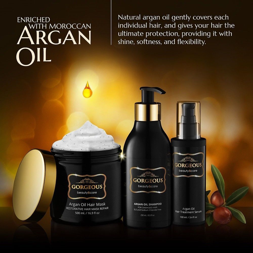 Gorgeous Argan Oil Shampoo Gold Label NEW IMPROVED PUMP