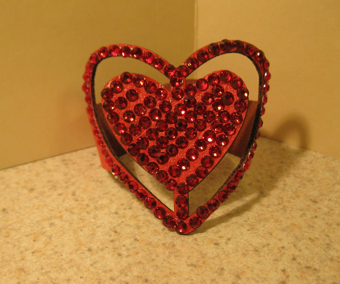 429 red leather heart bling