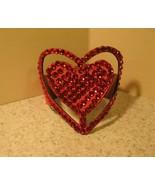 BRACELET BLING BANGLE RED RHINESTONE LEATHER HEART #429 - $12.99