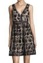 $285 Romeo Juliet Vegan Leather Glistening Lace Dress Medium 6 8 Black V... - $61.72