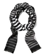 Banana Republic Black and White Stripe Long Skinny Scarf - $48.00
