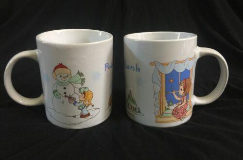 New Precious Moments Christmas Holiday 2009 Sherwood Mugs Lot of 2 Peace Earth