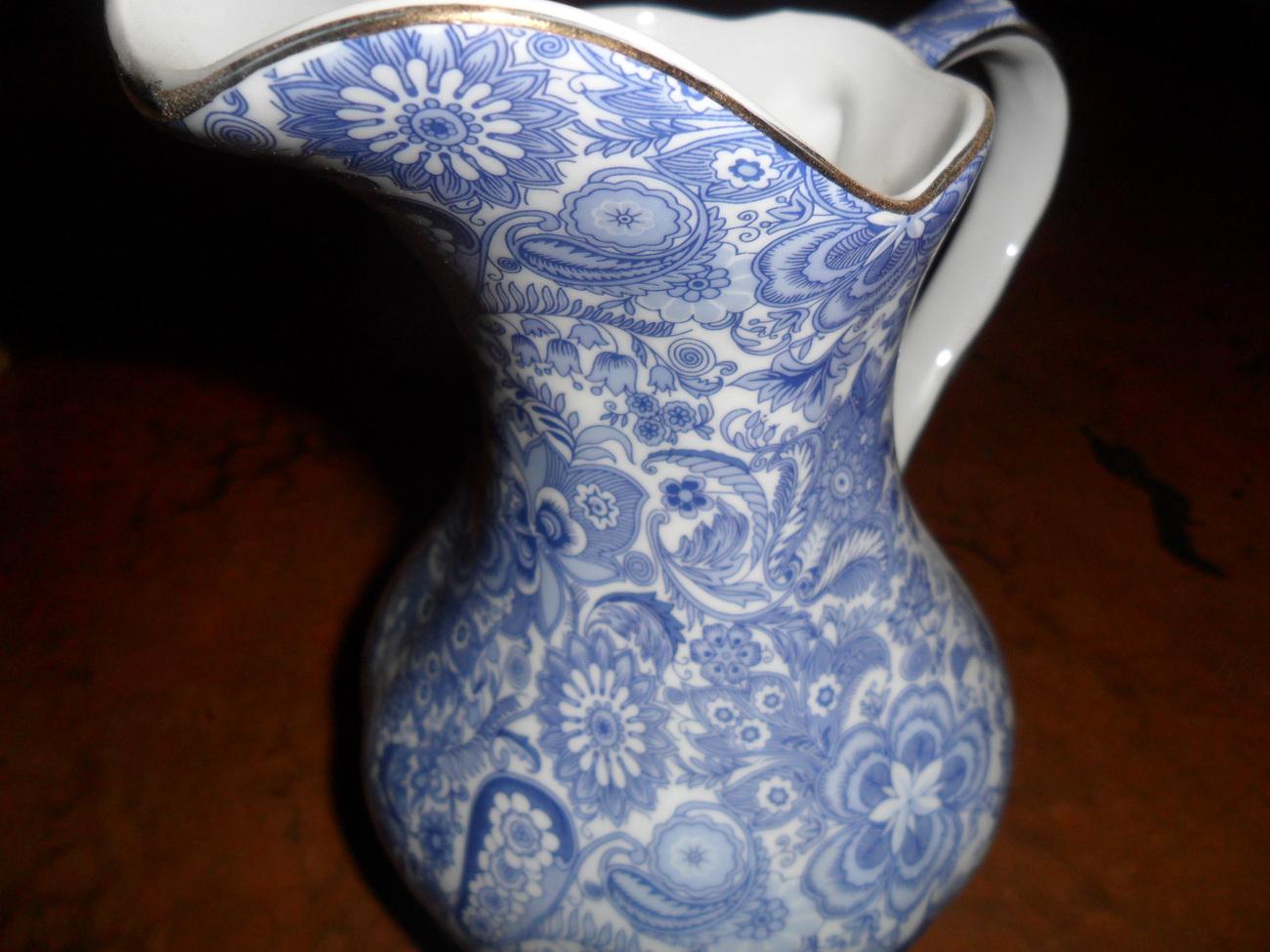 Godinger Antique Reflection Lovely Blue Floral Print Pitcher