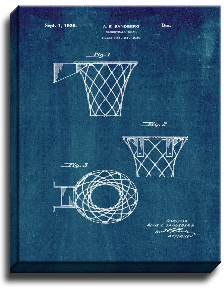 Primary image for Basketball Goal Patent Print Midnight Blue on Canvas