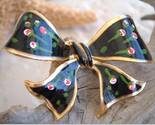 Vintage black enamel ribbon bow brooch pin flowers thumb155 crop