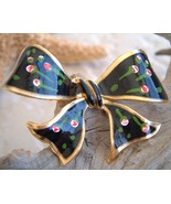 Ribbon Bow Pin Brooch Vintage Black Enamel Roses Flowers - $19.95