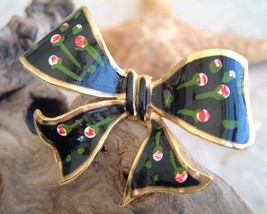 Ribbon Bow Pin Brooch Vintage Black Enamel Roses Flowers image 2