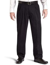 NEW Lee Men's Big-Tall Stain Resistant Relaxed Fit Pleated Pant Black, 48W x 34L - $30.19