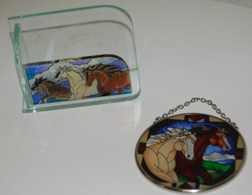 Joan Baker Designs Sun Catcher Envelope Holder Set Horses Theme