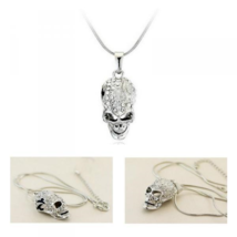 18K White Gold Plated Skull Necklace with Swarovski Crystals - $7.91