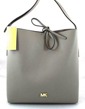AUTHENTIC NEW NWT MICHAEL KORS STUDIO $228 LEATHER JUNIE GREY LG MESSENG... - $108.00