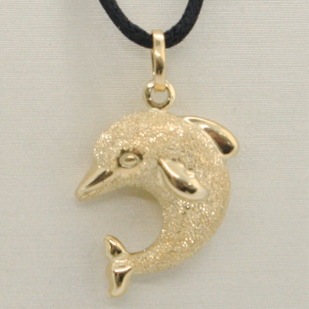 18K YELLOW GOLD ROUNDED DOLPHIN PENDANT CHARM 25 MM SMOOTH & SATIN MADE IN ITALY