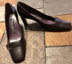 Etienne Aigner Black Square Toe W/Gold Buckle 3 Inch Heel Pump Shoes Sz 8 M - $34.64
